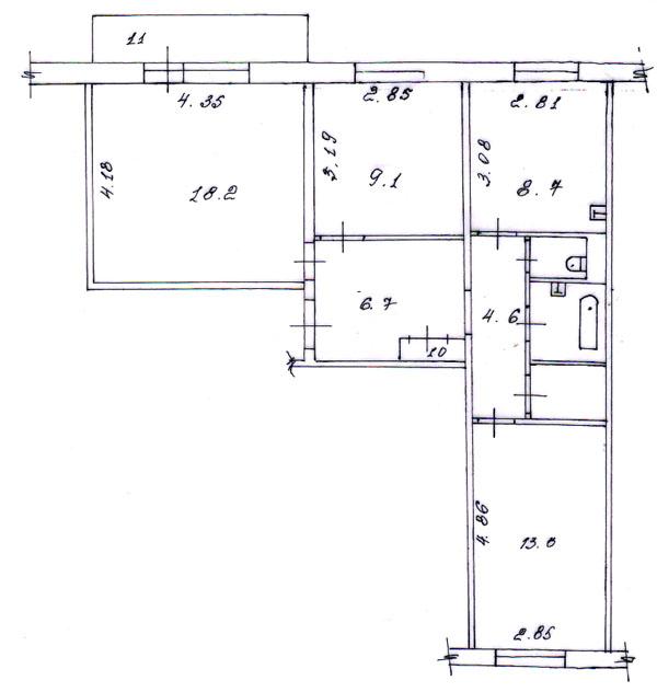 Схема планировки 2 комнатной квартиры