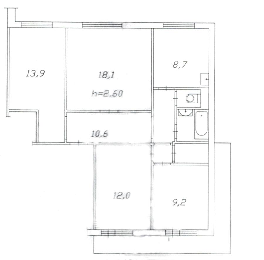 схема хрущевки 2 комнаты чита