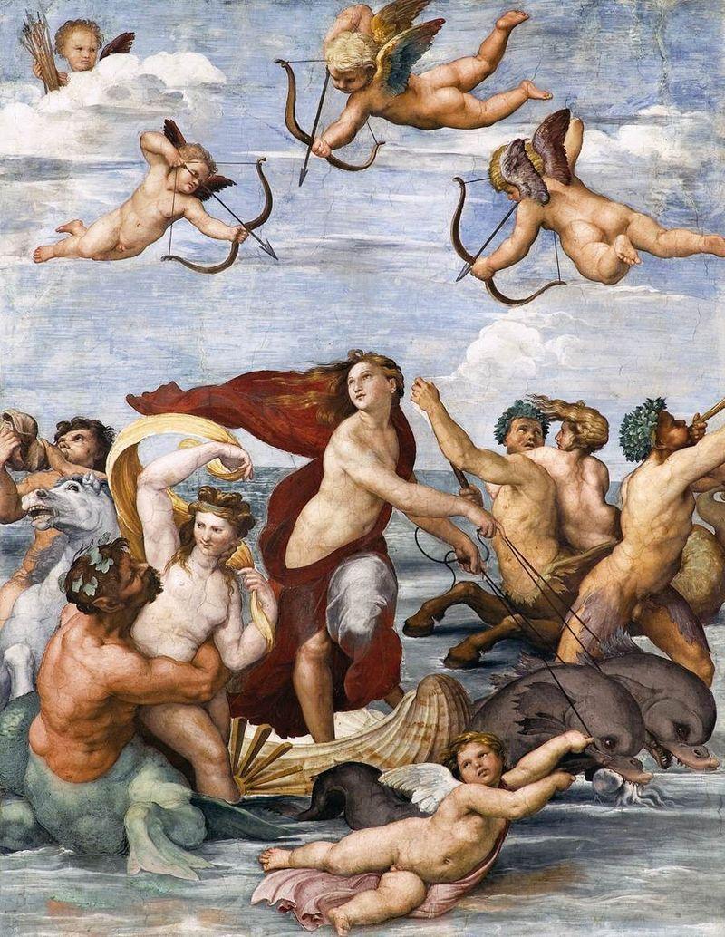 Фреска Рафаэля «Триумф Галатеи» (1512 г.) в пиршественной зале виллы банкира Агостино Кижди (вилле Фарнезине), ныне – в Национальной академии наук Италии, в Риме